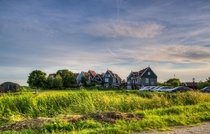 Group of typical old-style Dutch houses in Marken The Netherlands