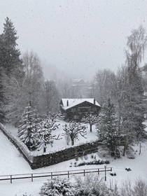 Gstaad - It was snowing when we arrived and checked in to our hotel
