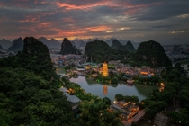 Guilin sunset Guangxi  xpost from rChinaPics