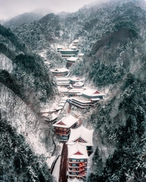 Guinsa Temple a Buddhist temple complex in the snow covered mountains of Danyang County North Chungcheong Province South Korea