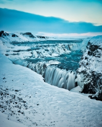 Gullfoss Iceland in the winter is a beautiful sight