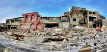 Gunkanjima off the coast of Nagasaki Japan cellphone HDR panorama