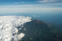 Gunung Agung volcano seen from the air Bali