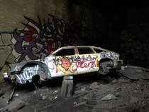 Gutted car in abandoned Brooklyn power plant