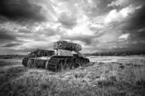 Gutted T-- tank on a gunnery range in Senne Paderborn - by Carsten Kopp