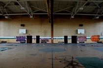 Gymnasium in abandoned Finney High School Detroit MI