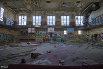 Gymnasium Inside the Abandoned Horace Mann High School in Gary Indiana
