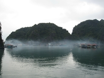 Ha Long Bay floating village at dawn