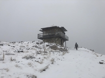 Had a short weekend trip to the Sheep Mountain Watchtower Got out before the  of snow fully hit