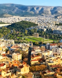 Hadrians arch and the Temple of Olympian Zeus as seen from the acropolis in Athens Greece