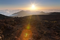 Haleakala Crater right after sunrise Maui Hawaii