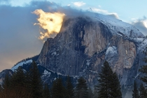 Half Dome On Fire Yosemite CA by Austin Jenanyan