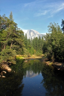 Half Dome reflecting in the Merced River Yosemite National Park