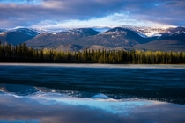Half-frozen lake in the Yukon territory a damn good camp site  OC