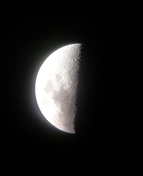 Half Moon - Cell Phone captured through Telescope