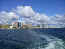 Halifax Nova Scotia from the Woodside ferry To the right is HMCS Preserver with the two harbour bridges in the distance