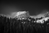 Hallett Peak in Rocky Mountain National Park under the full moon on Friday night I first went to Dream Lake but the winds were too strong to photograph so headed down to Bear Lake where they were still strong I setup behind a boulder with just the camera