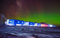 Halley VI on the Brunt ice shelf Antarctica during the southern lights