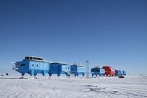 Halley VI Research Station Antarctica jacked up on legs to keep it above the accumulation of snow  skis on the bottom of these legs which allows the building to be relocated periodically