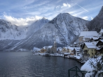 Hallstatt Austria in January middle of winter