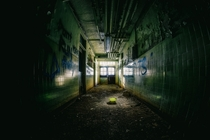 Hallway in an abandoned naval hospital