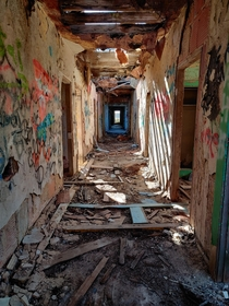 Hallway in an abandoned orphanage about  minutes from Dallas TX