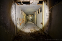 Hallway of a partly collapsed mental hospital in Japan