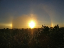 Halo effect on a bright winter day in Espoo Finland -