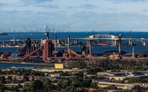 Hamilton steel plant with Burlington Skyway and Toronto skyline in the background