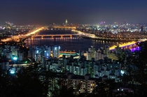 Han River at night seen from the pavilion atop Mt Maebong Seoul South Korea