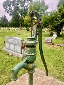 Hand operated water pump left to rust in Union Cemetery - Columbus Ohio