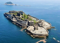 Hashima Japan Used as the villains base in the  James Bond film Skyfall and situated nine miles off the coast from Nagasaki It was abandoned following the mines closure in