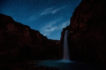 Havasu Falls at night Havasupai Indian Reservation Arizona
