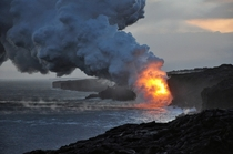 Hawaii Volcanoes National Park - Lava Pouring Into the Ocean