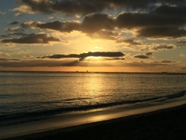 Hawaiian Sunset Waikiki Beach HI x