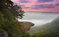 Hawksbill Crag in the morning fog Buffalo River Valley Ark