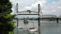 Hawthorne bridge in action today in Portland Oregon
