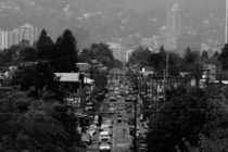 Hawthorne Street Portland OR with downtown looming in the background