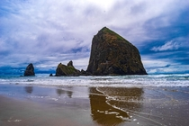 Haystack Rock Oregon on a Cloudy Summer Day