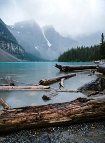 Hazey morning at Moraine Lake AB -