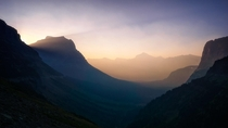 Hazy early morning in Glacier National Park MT USA