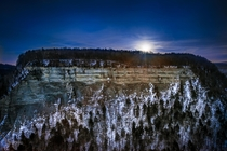 Hazy moonrise over Letchworth State Park NY