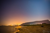 Hazy night at the Sea of Galilee