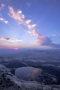 Hazy sunrise over May Lake Yosemite National Park