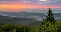Hazy Sunrise Over the Appalachian Mountains Bear Rocks Preserve WV