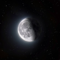 HDR composite of the Moon on a starry background