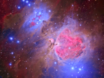 HDR Orion and Running Man nebula surround by hydrogen alpha