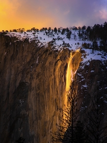 Heard we are doing Fire Fall at Yosemite today I got lucky enough to catch the sky lighting up almost as much as the falls If you can make sure you go see this at least once