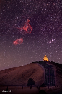 Heart and Soul Nebulas Double Cluster and  Perseids rising over a cute chapel in California