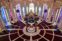 Heart of the Basilique Notre-Dame de la Paix in Yamoussoukro the administrative capital of Cte dIvoire Guinness World Records lists it as the largest church in the world having surpassed the previous record holder St Peters Basilica It has an area of  squ